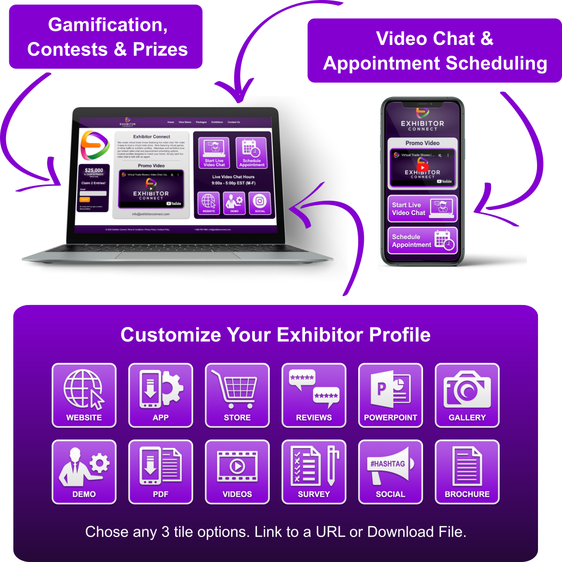 Virtual-Trade-Show-Exhibitor-Profile-Video-Chat-Gamification